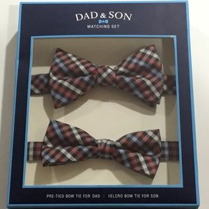 Dad & Son Matching Red & Blue Check Bow Tie Set